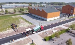 Drone view aanleg Ecofalt campus Groningen